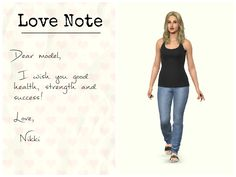 """Dear model, I wish you good health, strength and success!   Nikki "" #motivation #goals #love #note"