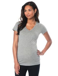 Short Sleeve V-neck Maternity T Shirt, any color except cream or peach cobbler, size XL