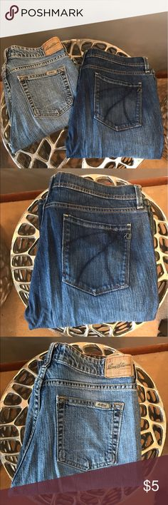 EUC Blue Jeans - 2 Pairs for the Price of 1 What a great deal for a size 10 Fashionista or Posh Mom wanting to get a head start on school shopping.  This deal features 2 pairs of EUC blue jeans. Various brands and cuts - both pairs feature stretch material and are stylish and comfortable. These lovelies come as a set. No OFFERS due to super low price. Get them while you can. Jeans