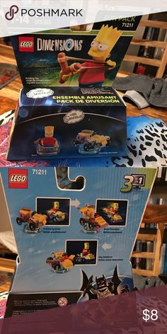 """New Lego Dimension The Simpson Fun Pack Lego Dimension's """"The Simpson"""" featuring Bart and The Gravity Sprinter- New In Box - Bundle with the others sets  a lower price!  $8 each or $5 of your purchases more than one. Smoke Free - Thank  you for browsing my closet! Lego Other"""