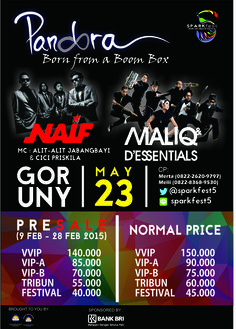 """PANDORA Concert """"Born From a Boom Box""""  Held on May 23rd, 2015 at GOR UNY! This year, we present you lots of remarkable talents, MALIQ & D'ESSENTIALS and also NAIF! Come ya, guys~  More info : twitter @SPARKFEST5 and line id: sparkfest5"""