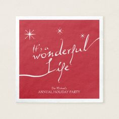 Personalized - It's a Wonderful Life, Holiday Party Napkin Baby Shower Napkins, Party Napkins, Floral Baby Shower, Cowboy Birthday Party, Fairy Birthday Party, Hollywood Birthday Parties, Custom Napkins, Its A Wonderful Life, Holiday Parties