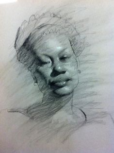 daniel sprick drawings | Second Drawing - Portrait - Charcoal and White Chalk on Canson Paper
