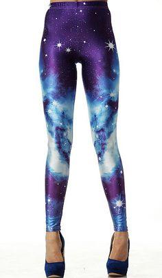 Purple Galaxy Elastic Leggings US$33.87