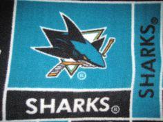San Jose Sharks Hockey Team Fleece Blanket by CutnTiedbyRedYvette, $45.00