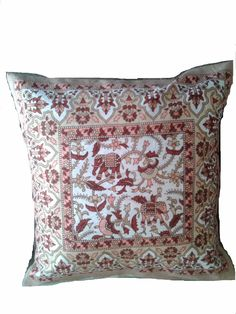 Indian Pillow Elephant Print Cotton Covers Vintage Rajasthani Cushion Covers in Home & Garden, Home Décor, Pillows | eBay