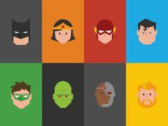 flat design superheroes - Buscar con Google