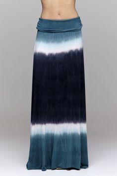 SOFT FOLD OVER WAIST STONE NAVY BLUE STONE TIE DYE LONG MAXI KNIT SKIRT BEACH S  #Handmade #Maxi