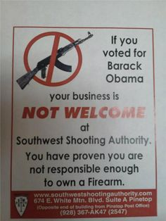 Arizona Gun Dealer Tells Obama Voters to Get Lost