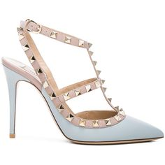 Valentino Rockstud Leather Slingbacks T.100 (17,070 MXN) ❤ liked on Polyvore featuring shoes, sandals, heels, valentino sandals, valentino shoes, leather slingback shoes, metallic sandals and metallic high heel sandals