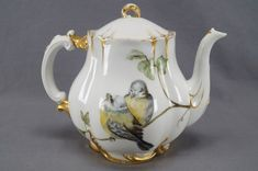 Haviland Limoges Hand Painted Porcelain Fairy & Finches Teapot Circa 1876 - 1889   eBay