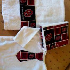 Onesie, burpcloth, and hand towel