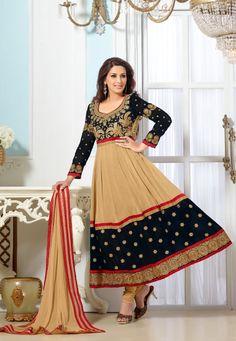 Beige & Black Color Suit The Suit Has Zari Resham Thread Embroidery & Lace Border Work Designer Anarkali Suit