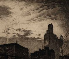 Martin Lewis.  Skyline, New York. 1919. Etching and drypoint.