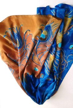 Hand painted silk scarf Cinnamon Peacock Feathers Designer