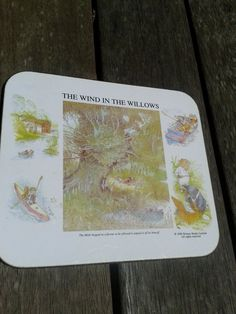 Wind in the willows coaster. 80's Mole and Rat having a picnic by the river. Woodland animals. Story book characters. Homewares.. $5.00, via Etsy.