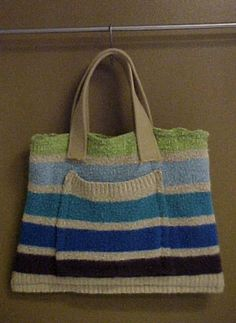 Turn an Old Sweater into a Tote Bag: Sew  Handles on the Sweater Bag