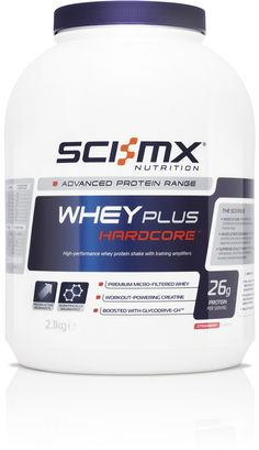 SCI-MX - WHEY PLUS HARDCORE™ The power of premium whey protein plus our unique Creatacore® creatine, Glycodrive-GH™ and peptide bonded glutamine. Formulated for those who use whey protein to gain serious muscle size and strength.