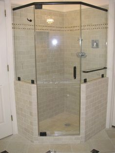 Frameless quadrant shower enclosure have more elegant look than fully-framed doors and they can be easily fit into bathroom of any style.
