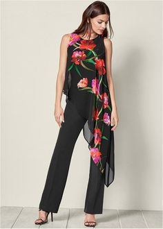 Order a sexy Chiffon Overlay Jumpsuit by VENUS online or Floral Jumpsuit, Printed Jumpsuit, Black Jumpsuit, Tailored Jumpsuit, Jumpsuit Style, Summer Jumpsuit, Jumpsuit Outfit, Dress Black, Elegante Jumpsuits
