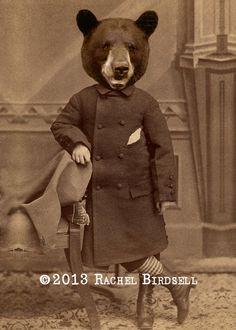 Altered Victorian Photo Anthropomorphic Bear Boy Art Print 5 x 7 - Tobias Overton