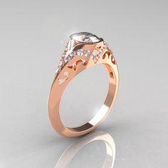 Classic 14K Rose Gold Oval White Sapphire Diamond door artmasters