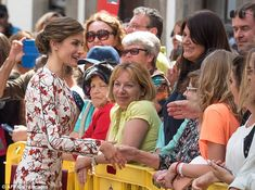 Letizia could be seen chatting to the crowds who had lined up in the town of Las Palmas ah...