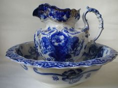 Moderna Flow Blue Pitcher and Bowl Set by J G Meakin England | eBay...WOW I have this set too!!!!