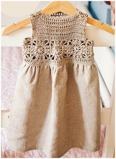 Ravelry: Granny Square Crochet / Fabric Dress pattern by Mon Petit Violon - FREE pattern Crochet Yoke, Crochet Fabric, Crochet Girls, Crochet Baby Clothes, Crochet For Kids, Irish Crochet, Crochet Toddler Dress, Crochet Dress Girl, Sew Dress