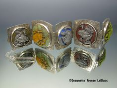 Metal Clay hinged bracelet.  Glass Cabs by Paula Radke.  How to project can be found in Metal Clay Artist Magazine Vol. 2 Issue #4