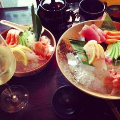 Selection of Sashimi, served on crashed ice to keep them cool - from Foursquare