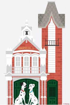 "In this week's Disney Doodle, artist Ashley Taylor imagines what Pongo and Perdita, the two lovable parents from Dalmatians"" would do if they visited Disney Parks. The fire station on Main Street, U., at Magic Kingdom Park. Disney Fan Art, Disney Love, Disney Pixar, Walt Disney, Disney Stuff, Disney Doodles, Spotty Dog, Disney Valentines, Disney Parks Blog"