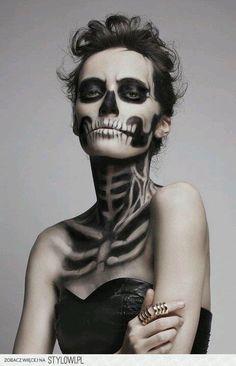 maquillaje halloween, halloween make up Halloween 2018, Costume Halloween, Halloween Party, Halloween Clothes, Skeleton Costumes, Halloween Carnival, Halloween Recipe, Amazing Halloween Makeup, Looks Halloween