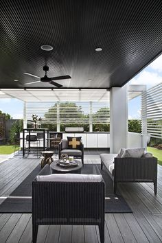 Clarendon Homes. Fairmont Grand Alfresco with dark finishes. Outdoor Areas, Outdoor Rooms, Outdoor Living, Outdoor Furniture Sets, Outdoor Decor, Outdoor Gazebos, Clarendon Homes, Look Dark, Alfresco Area