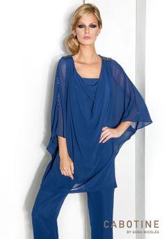 BELLA 6170 Conjunto de blusa y pantalón en chiffon con detalles en cristal especial para tallas grandes