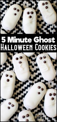 3 Ingredient Easy Ghost Halloween Cookies are a cute and festive treat! Made in minutes devoured in seconds, these easy Halloween cookies are a hit!Simple, 5 minute recipe with only 3 ingredients! from BUTTER WITH A SIDE OF BREAD halloween meals Halloween Desserts, Muffins Halloween, Biscuits Halloween, Halloween Cookie Recipes, Postres Halloween, Easy Halloween Food, Halloween Goodies, Halloween Cupcakes, Halloween Ghosts