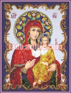 Our Lady Vladimirska Beaded Embroidery DIY kit orthodox icon beaded painting