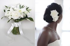 Ade'sbouquet contained peonies, freesias, eustoma roses, agapanthus, stephanotis and carnations, and had a collar of variegated hosta leaves and neatly tied with a bow of white satin ribbon.