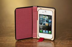 Little Black Book for iPhone4/4S with Hidden Pocket, Cranberry interior Ships Same Day EXPRESS Mail. $44.99, via Etsy.