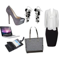 Thirty-One for the Business Woman...  Loving this look? Need a new bag to carry around your laptop and business planner? Check out the Cindy Tote from Thirty-One at www.mythirtyone.com/jlongest  created by jessica-longest on Polyvore