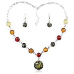 Faux Amber multi-color pendant necklace and Earrings