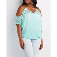 Charlotte Russe Studded Cold Shoulder Top ($26) ❤ liked on Polyvore featuring plus size women's fashion, plus size clothing, plus size tops, plus size blouses, mint, mint blouse, cold shoulder tops, short sleeve blouse, open shoulder blouse and women plus size tops