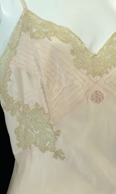 Vintage lingerie silk and lace monogrammed full slip