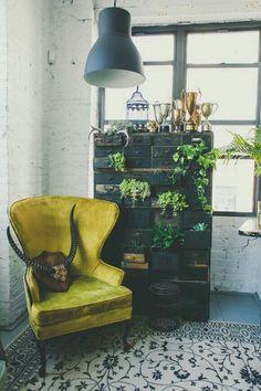 Vintage velveteen chair.