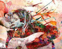 Kurt Cobain Art Print, Nirvana | Rockchromatic