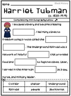 Harriet Tubman | Black History  Thank you for your interest in this product! This packet is not a curriculum and is best used as a supplement for Black History. This packet includes activities to help students learn about black historical figure, Harriet Tubman. Similar products, including bundle deals, can be purchased at my online store, Nike Anderson's Classroom.