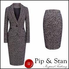 M&S UK8 US4 BLACK WHITE WOOL PENCIL SKIRT SUIT WOMENS SIZE | eBay