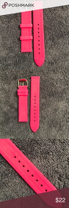 Michele raspberry pink Sport band 18mm, like new Michele hot pink/raspberry jelly Sport watch band.  Perfect and goes with everything.  I took a super close up of the holes so you can see... literally no use.  I loved it and the color but just stuck with the basics. 🙄 so it's in perfect condition! Michele Accessories Watches