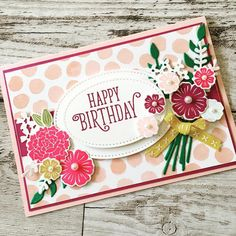 Beautiful Bouquet Bundle by Stampin' Up! Handmade Birthday Cards, Happy Birthday Cards, Greeting Cards Handmade, Stampin Up Catalog 2017, Happy Birthday Gorgeous, Paper Craft Making, Karten Diy, Stamping Up Cards, Get Well Cards