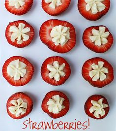 Cream Cheese Filled Strawberries found on www.toostinkincute.blogspot.com